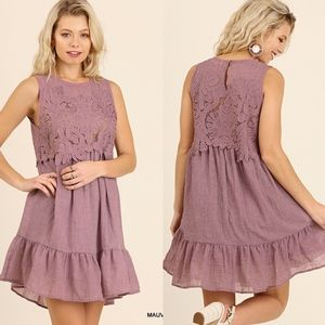 KRISTIN Crochet Detail Ruffle Hem Dress - MAUVE